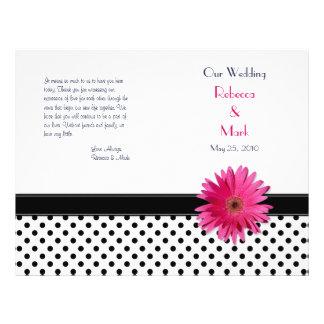 Den rosa polkaen för daisysvartvit pricker reklamblad