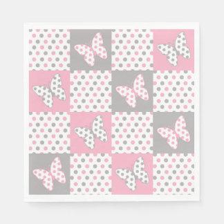 Den rosa polkaen för grå färggråttfjärilen pricker servetter
