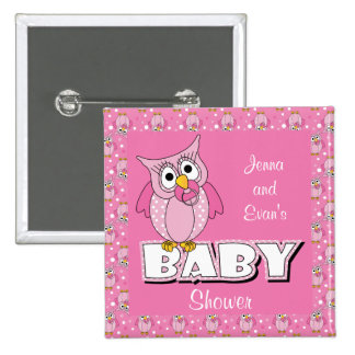 Den rosa polkaen pricker baby showertema för uggla standard kanpp fyrkantig 5.1 cm