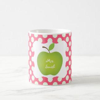 Den rosa polkaen pricker den gröna Apple lärare Vit Mugg
