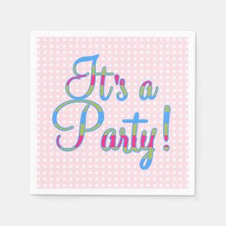 Den rosa polkaen pricker det är ett party, pappersservett