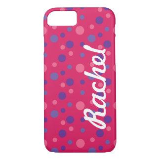 Den rosa polkaen pricker fodral för iPhone 7