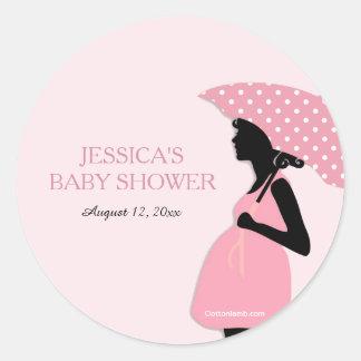 Den rosa polkaen pricker paraplybaby runt klistermärke