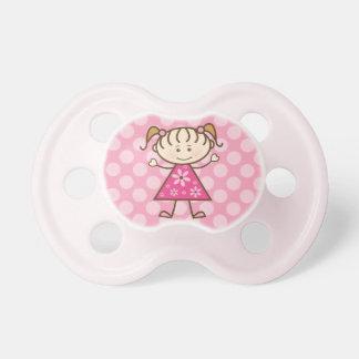 Den rosa polkaen pricker stick figurflickan napp