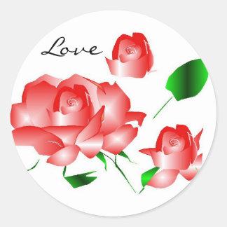 Den rosa röd ros älskar jag klistermärken