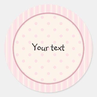 Den rosa romantiker pricker och randdesignen runt klistermärke