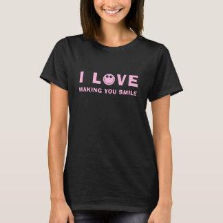 Den rosa smileyen älskar jag citationstecken tee shirts