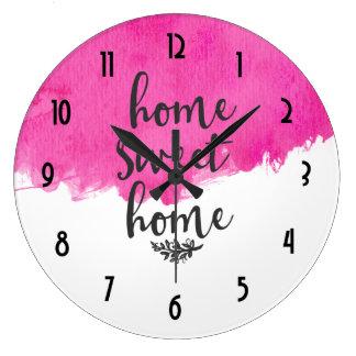 Den rosa vattenfärgen målar det hem- sötsakhemmet stor klocka