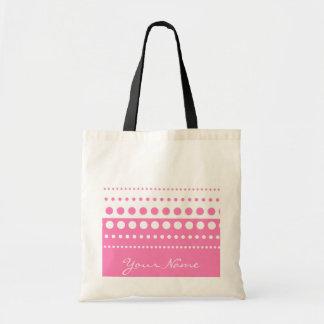 Den rosa vitpolkaen pricker mönster tygkasse