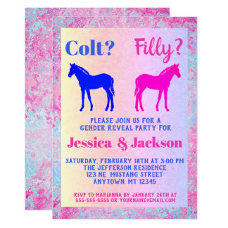 Den rosa westerna stilgender för ungstoen & för 12,7 x 17,8 cm inbjudningskort