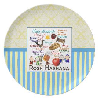 Den Rosh Hashanah ord pläterar Dinner Plate