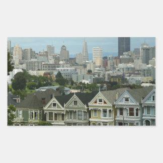 Den San Francisco vykortet ror stadsplatsfotografi Rektangulärt Klistermärke