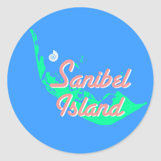 Den Sanibel ökartan skisserar design Runt Klistermärke