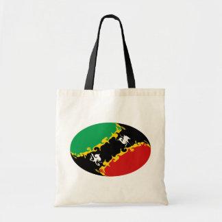 Den Sanktt Kitts och Nevis Gnarly flagga hänger lö Tygkassar