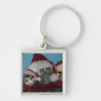 Den Santa döskallar kvadrerar Keychain Fyrkantig Silverfärgad Nyckelring