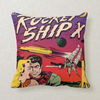 Den Sci Fi för vintage för raketfrakt X humorboken Kudde