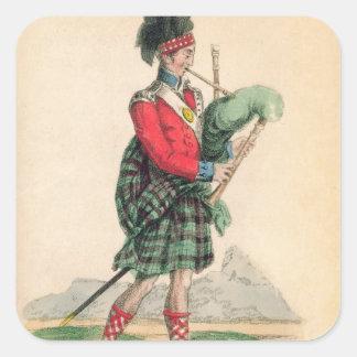 Den Scotch pipblåsaren Fyrkantigt Klistermärke