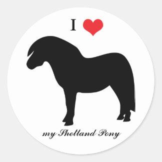 Den Shetland ponnyn, älskar jag hjärta, Runda Klistermärken