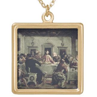 Den sist kvällsmålet (olja på kanfas) 2 guldpläterat halsband