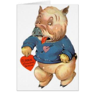 Den ska gulliga grisen tjaller valentin kort för