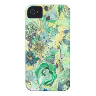 Den skissade gröna vattenfärgen blommar iphone iPhone 4 cover