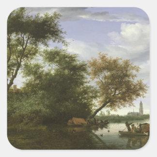 Den skogsbevuxna floden landskap fyrkantigt klistermärke