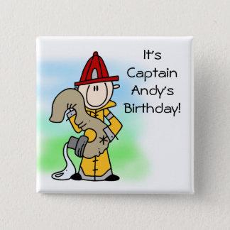 Den skräddarsy 3rd födelsedagen för brandmannen standard kanpp fyrkantig 5.1 cm