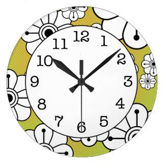 Den skraj blom- dekorativa väggen tar tid på stor rund klocka