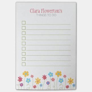 Den skraj vår blommor som ska göras, listar post-it lappar