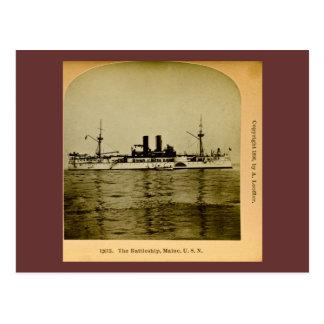 Den slagskeppMaine vintagen Stereoview Vykort