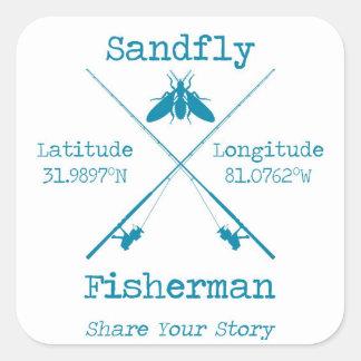 Den små fiskaren för 20 Sandfly kvadrerar Fyrkantigt Klistermärke