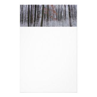 Den snö dammade av skogvintern landskap fotografi brevpapper