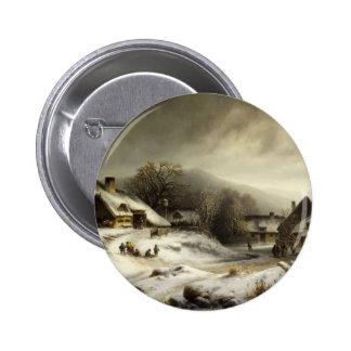 Den snöig byn och landskap standard knapp rund 5.7 cm