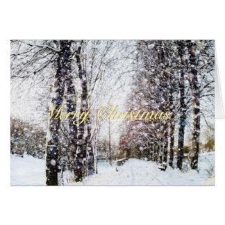 Den snöig trädLanehelgdag landskap god jul Hälsningskort