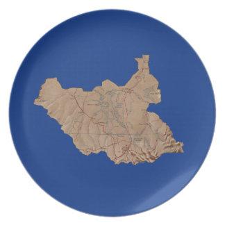 Den södra Sudan kartan pläterar Tallrik