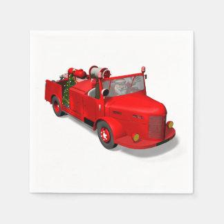 Den söta jultomten avfyrar in motorn papper servetter