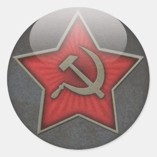 Den sovjetiska stjärnan bultar och skäran runt klistermärke
