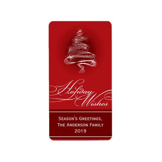 Den Sparkling röda julgranen virvlar runt Adressetikett