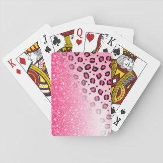 Den Sparkly rosa Leopardtryckdekoren för tonåring Casinokort