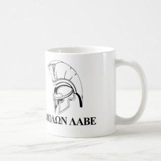 Den spartanska grekiska komen och får det Molon Vit Mugg