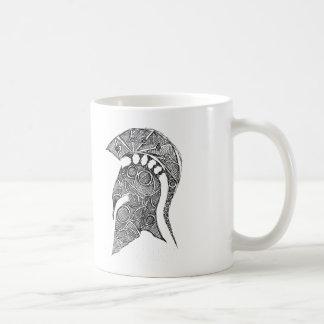 Den spartanska hjälmen skissar kaffemugg