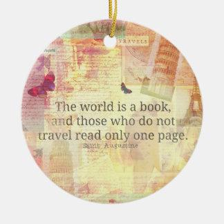 Den St Augustine världen är en bok reser Julgransprydnad Keramik
