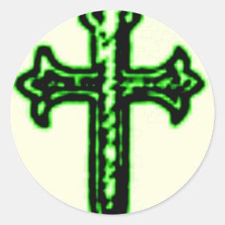 Den St James kor i grönt tonar Rund Klistermärke