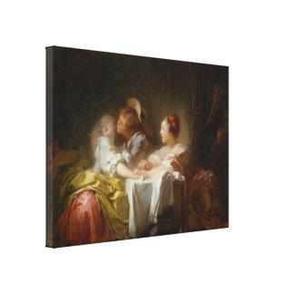 Den stal kyssen - Jean Honoré Fragonard Canvastryck