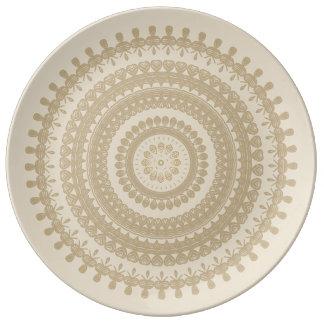Den stam- Boho sanden cirklar solbränd jord- brunt Porslinstallrik