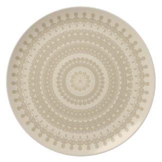 Den stam- Boho sanden cirklar solbränd jord- brunt Tallrik