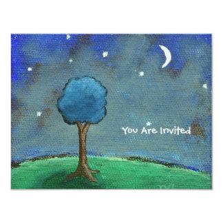 Den Starry natten abstrakt landskap 10,8 X 14 Cm Inbjudningskort