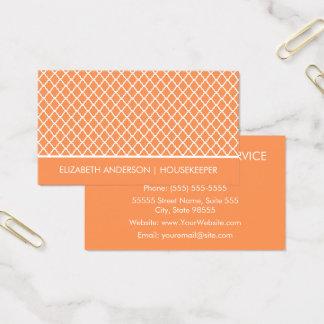Den stilfulla orange Quatrefoil hushållningen Visitkort