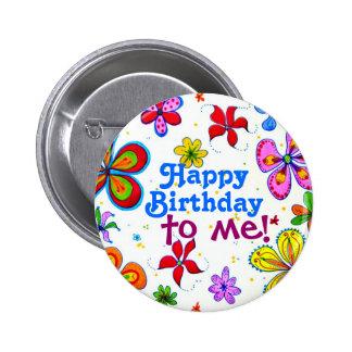 Den stora blommagrattis på födelsedagen till mig standard knapp rund 5.7 cm