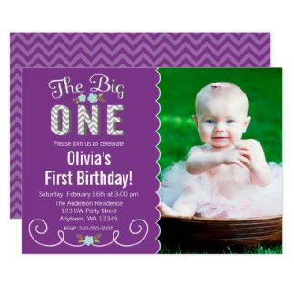 Den stora en födelsedagen för purpurfärgat foto 12,7 x 17,8 cm inbjudningskort